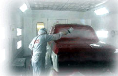 Car Getting Painted - Contact us for auto body service, collision repair, color matching, refinishing, and other automotive services. Located in Paterson, New Jersey.